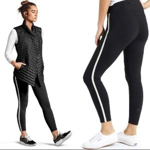 Athleta Metro 7/8 Tight Black White Stripe Pant L